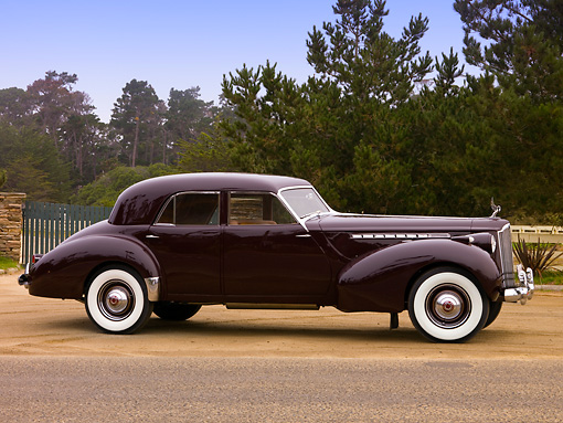 1940 Packard Darrin Sport Sedan Burgundy 3/4 Front On Dirt | Kimballstock